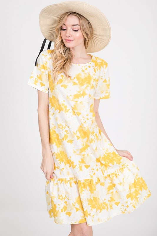 Lime N Chili Watercolor Floral Dress - Yellow