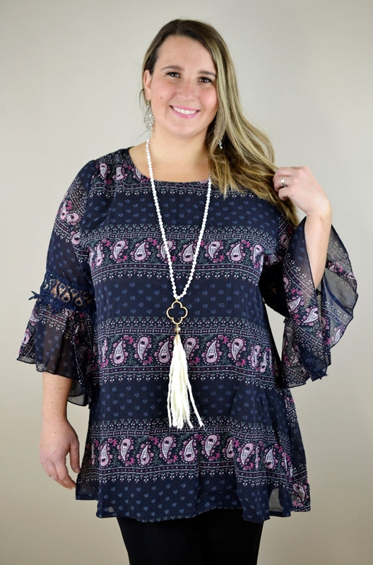 Paisley Bell Sleeve Tunic - Navy/Pink