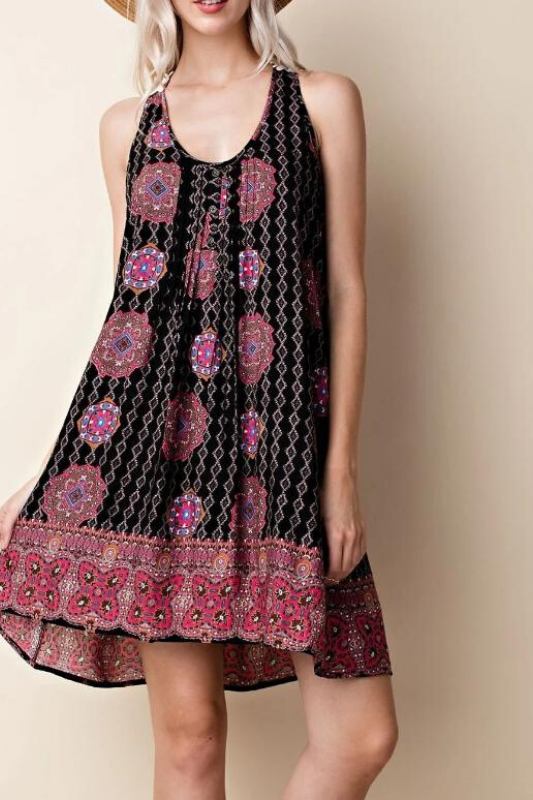 L Love Medallion Print Crochet Back Dress - Black