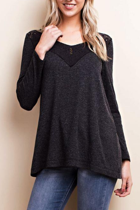 LLove Casual Me Up Lace Insert Top - Charcoal