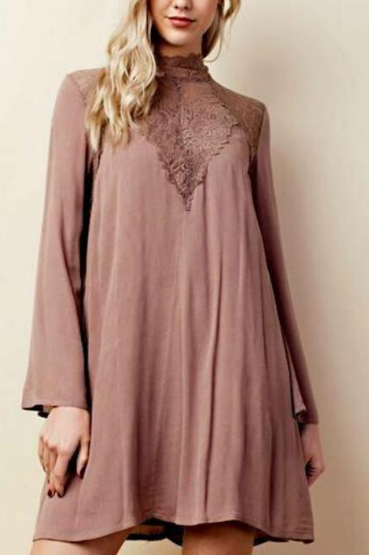 L Love Mock Neck Lace-y Shift Tunic Dress - Mocha