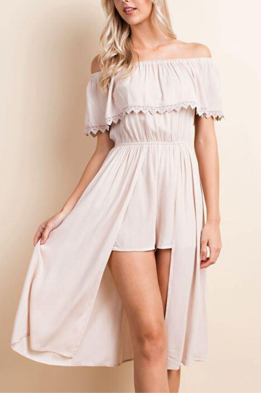 LLove Off Shoulder Romper Long Skirt Playsuit - Taupe