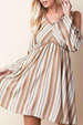 LLove Fit N Flare Cold Shoulder Dress - Tan