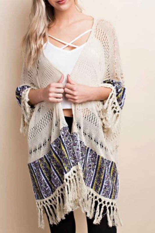 L Love Crochet Knit Mixed Fabric Fringe Kimono Cardigan