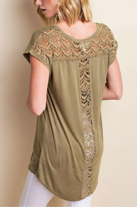LLove Back Crochet Tee Soft Top - Olive