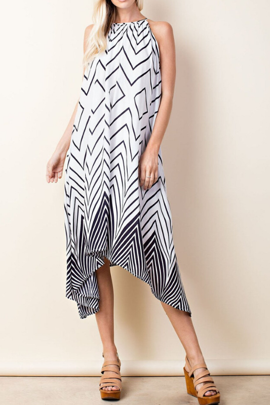 LLove Handkerchief Geo Midi Dress - Navy