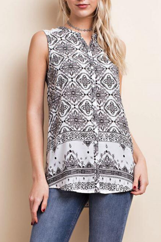 LLove Print & Lace Button Down Blouse - White