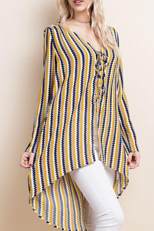 LLove Lace Up Hi Low Zig Zag Stripes Blouse - Mustard Mix