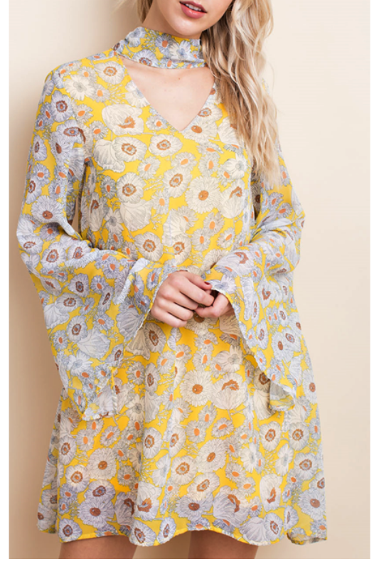 LLove Summer Garden Floral Print Boho Dress - Mustard Yellow