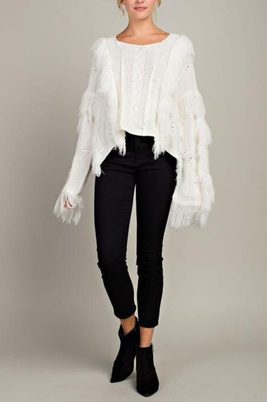 LLove Fringed Out Cable Crop Sweater - Cream