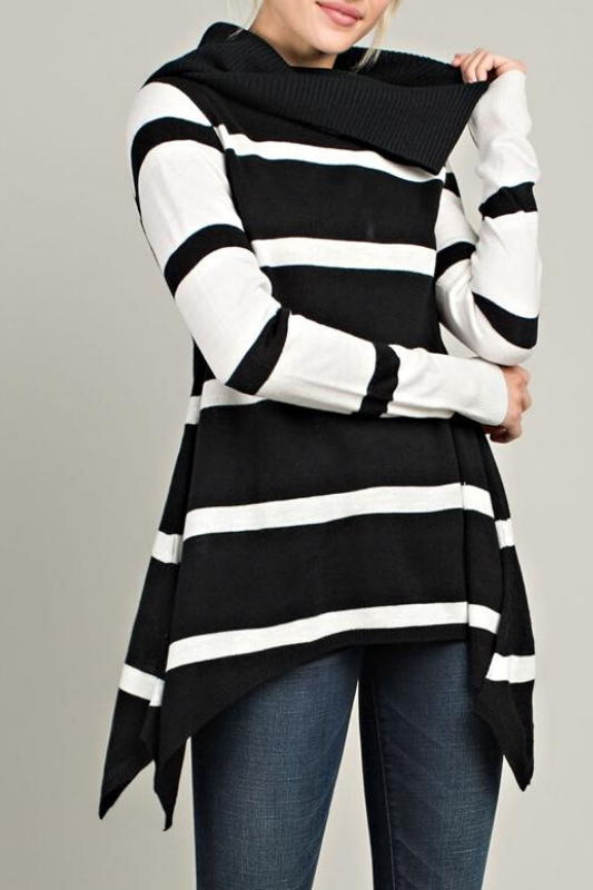 Cheryl Cowl Neck Striped Top - Black