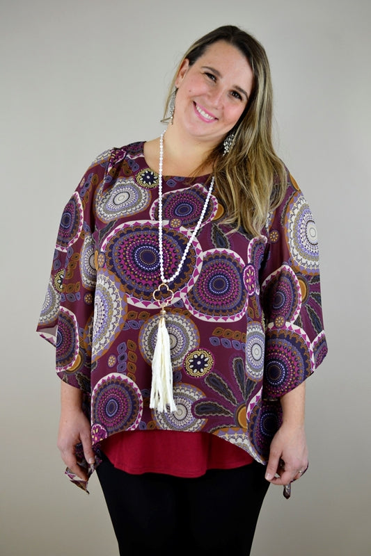 Layer Look Medallion Print Blouse