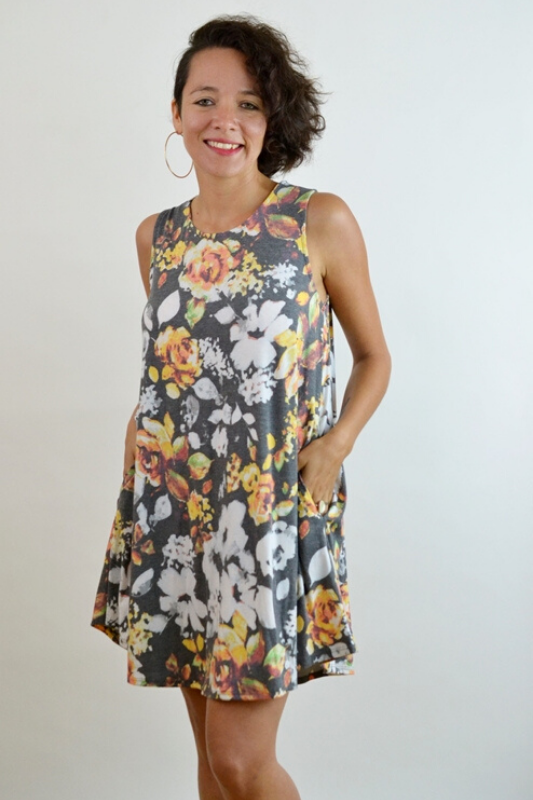 Mittoshop Floral Tunic Dress - Charcoal