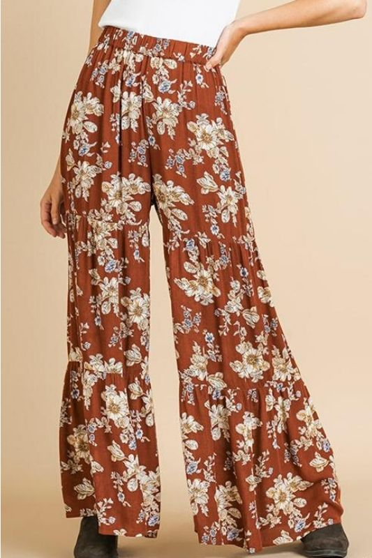 Umgee Floral Ruffle Pants - Brown Mix