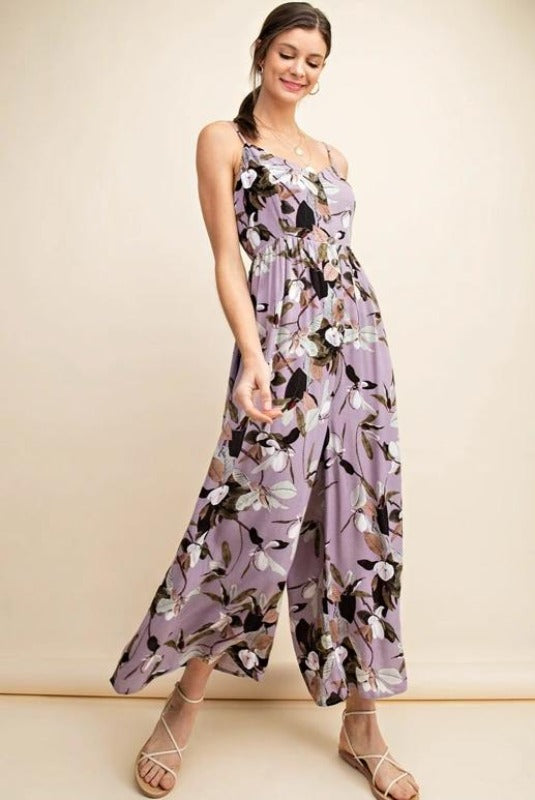 Kori Floral Button Down Jumpsuit - Lilac