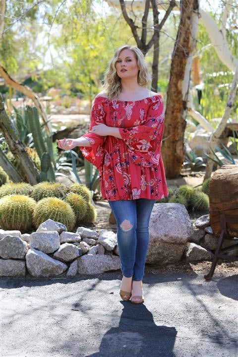 Angie Boho Off Shoulder Watermelon Top