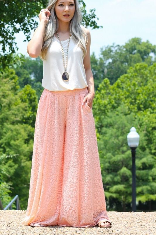 L&B Wide Leg Lace Pants - Peach