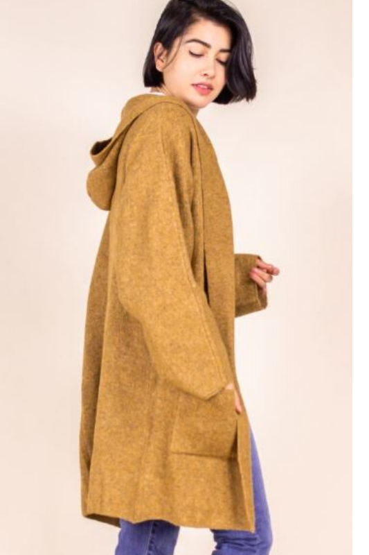 P. Cill Oversize Hooded Cardigan - Camel
