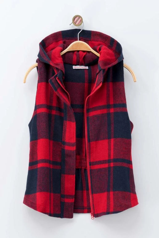 Plaid Hoodie Vest - Red/Navy