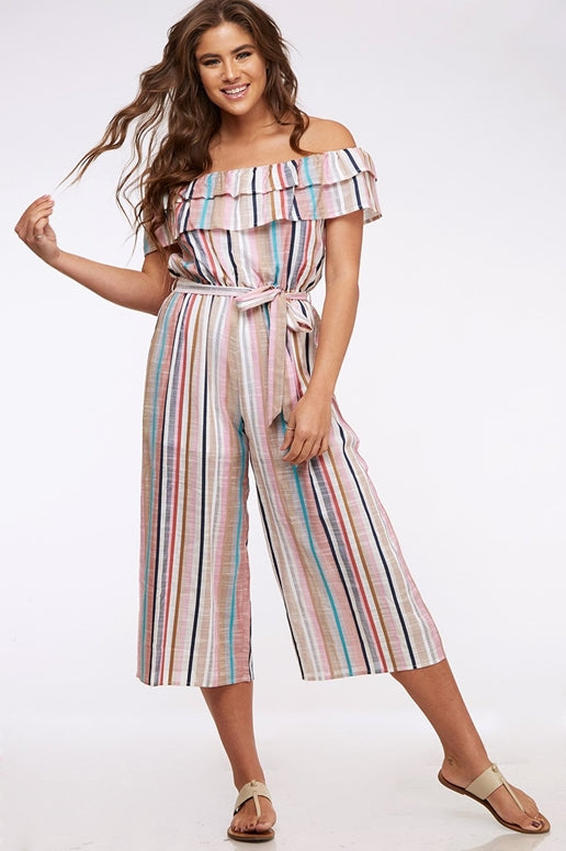 Peach Love Milani Jumpsuit - Striped