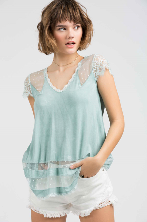 POL Jersey Cap Sleeve Lace Top - Emerald