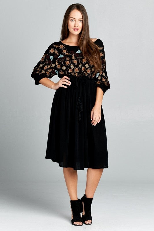 Velzera Embroidered Boho Midi Dress - Black