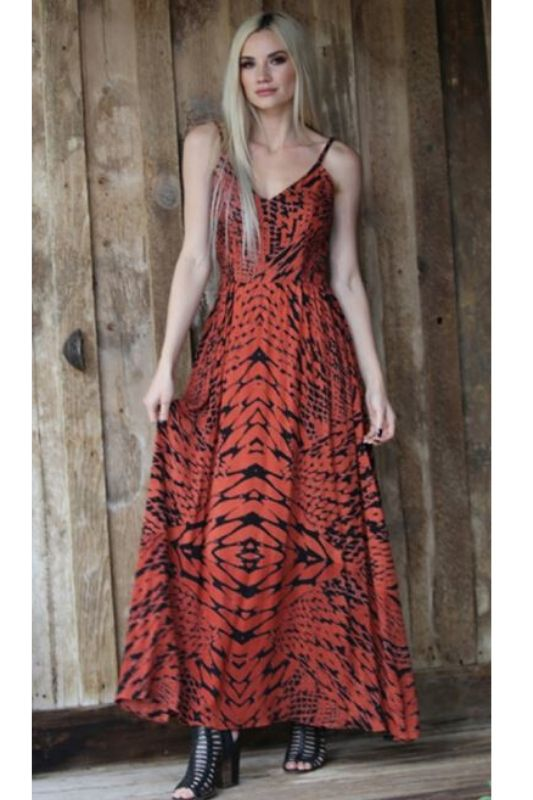 Angie Maxi Dress - Rust/Black