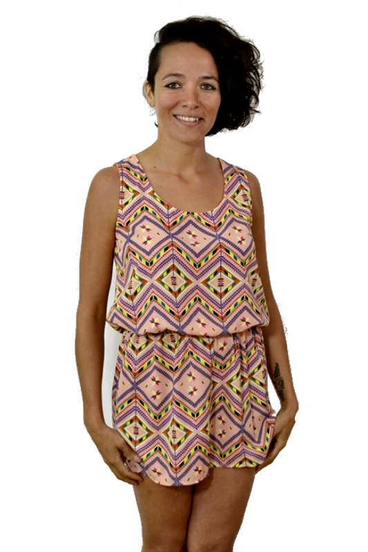 La Scala Tribal Print Romper - Peach Multi