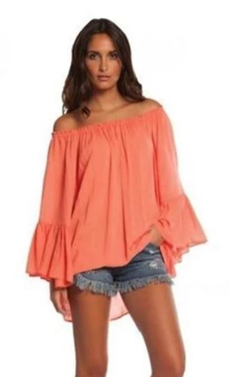 Elan Ruffle Bell Sleeve Off Shoulder Tunic Top - Melon