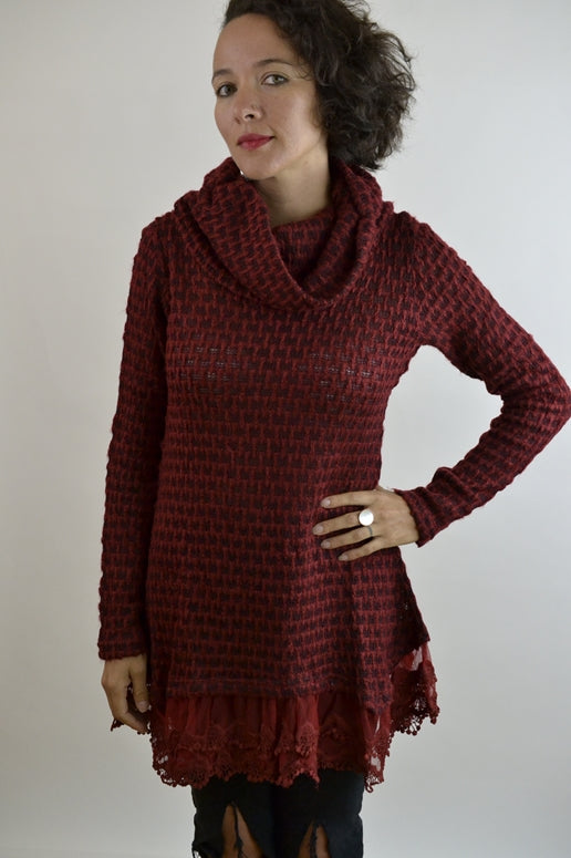 RYU Cowl Neck Sweater Tunic - Burgundy
