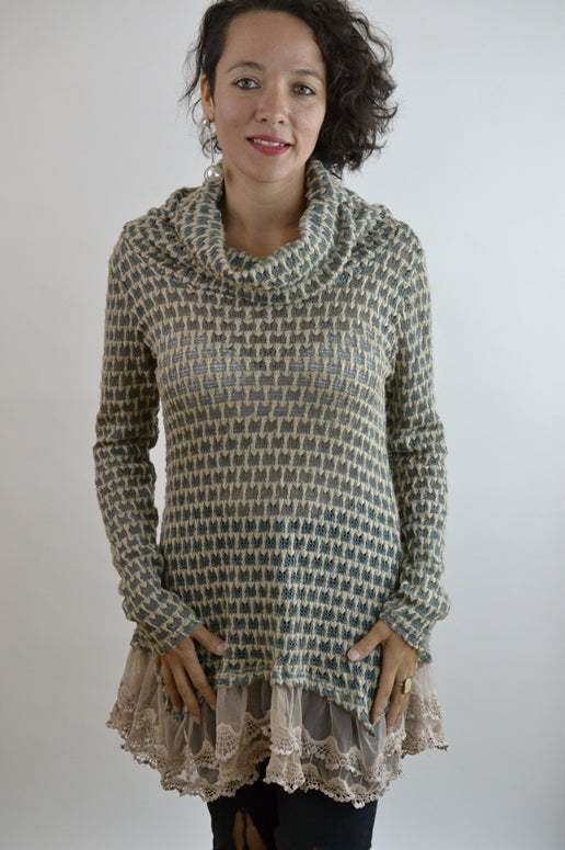 RYU Cowl Neck Sweater Tunic  -Jade Beige