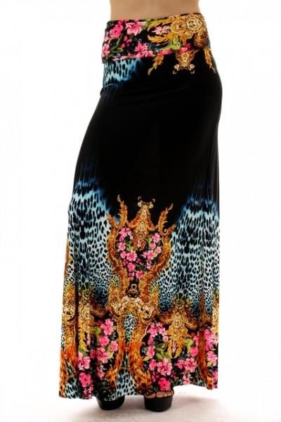 Cynthia Floral Animal Print Black Maxi Skirt - Debra's Passion Boutique - 1