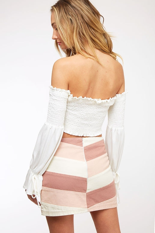Peach Love Allison Skirt - Mauve/Lt Pink/Cream