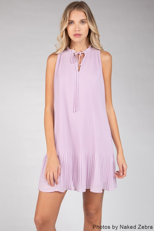 Kirsten Mini Pleated Dress - Lavender
