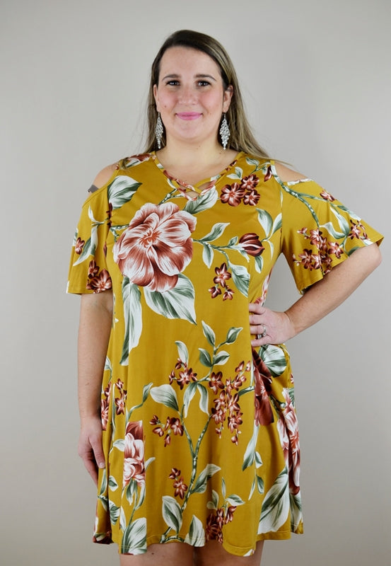 Floral Print Open Shoulder Dress - Mustard