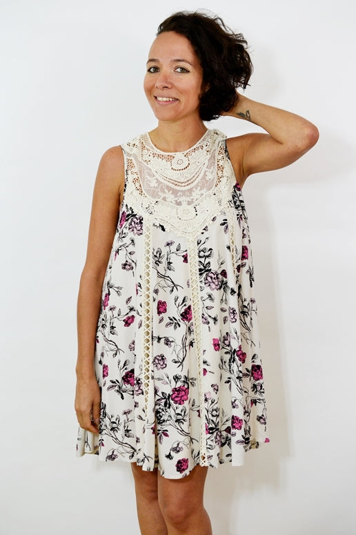 Entro Vintage Lace Floral Swing Dress - Off White