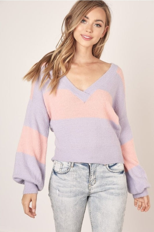 Mustard Seed Knit Sweater Top - Dusty Rose/Lilac