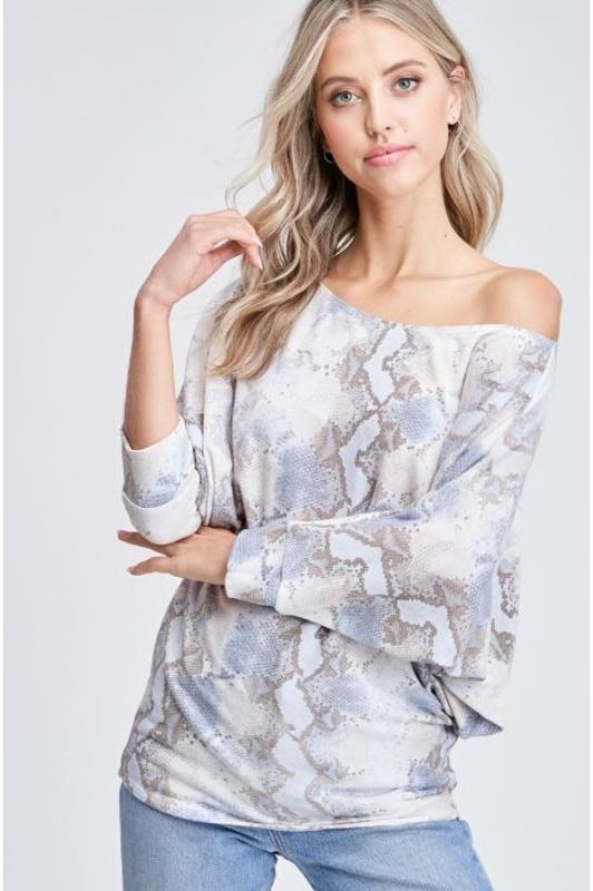 Snakeskin Soft Dolman Top - Blue/Beige