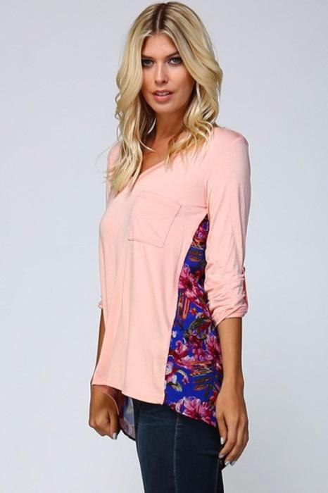Peachy Keen Floral Pocket Top - Debra's Passion Boutique - 3