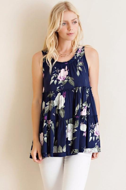 Rose Garden Tank Ruffle Blouse - Navy - Debra's Passion Boutique - 1