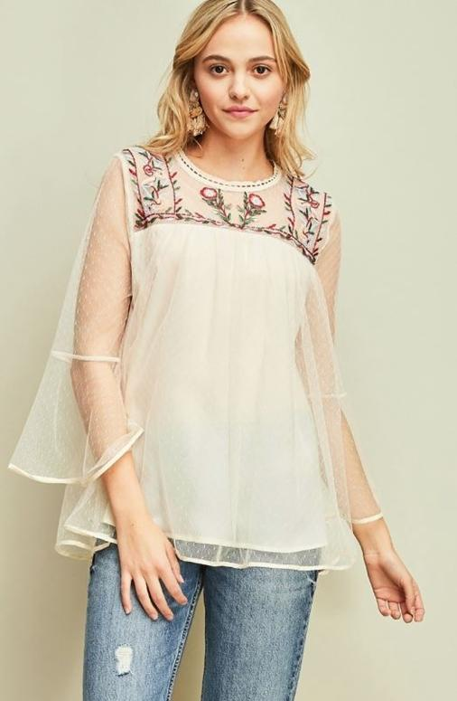 Entro Embroidery Mesh Blouse - Natural