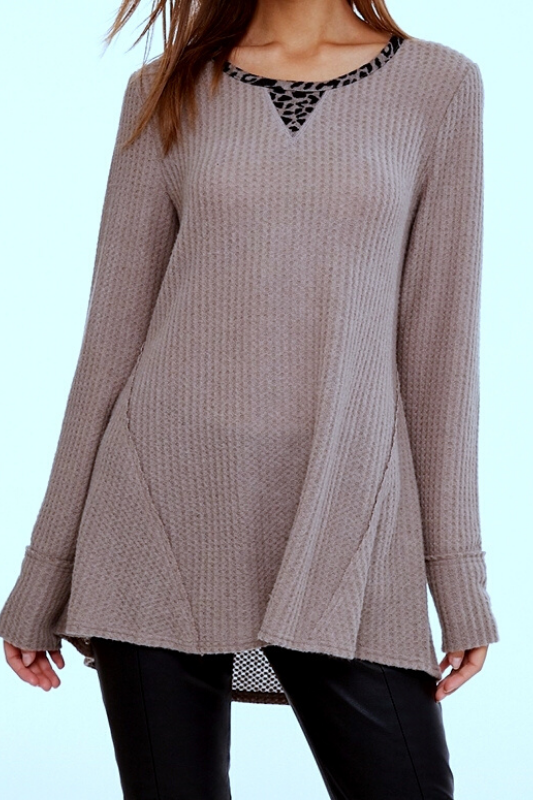 L Love Waffle Elbow Patch Top - Taupe