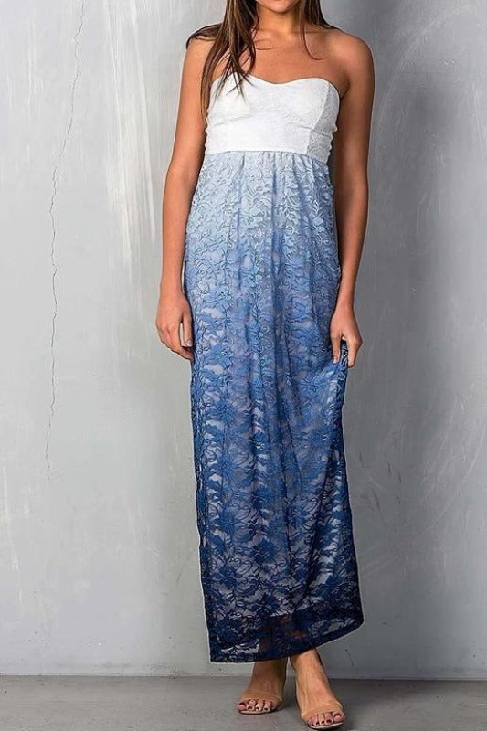 Tina Strapless Ombre Maxi Dress - Ivory Blue