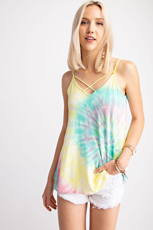Rainbow Criss Cross Tank Top - Lemon Teal