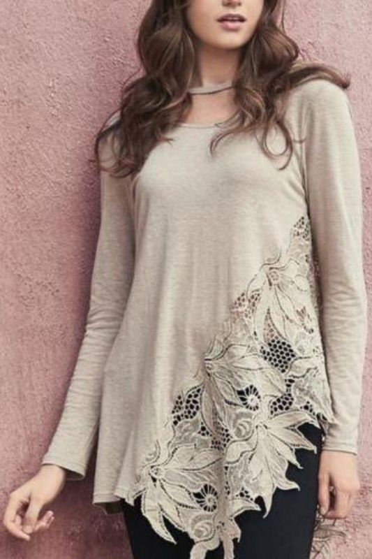 Monoreno Floral Crochet Lace Top - Taupe