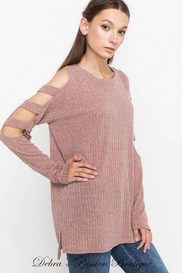 Mittoshop Cut Out Sleeve Ribbed Knit Top - Mauve