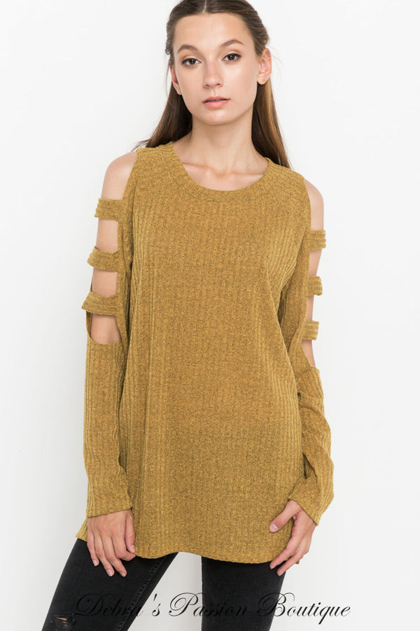 Mittoshop Cut Out Sleeve Ribbed Knit Top - Mustard