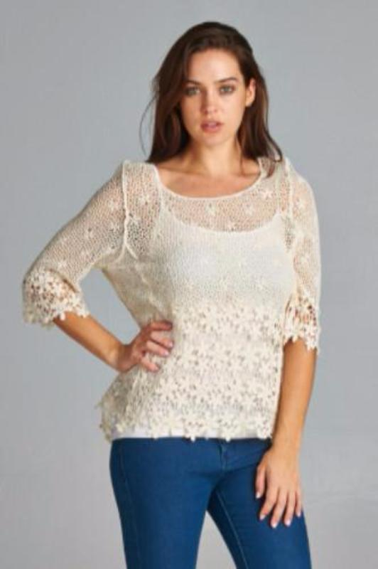 Velzera Crochet Scallop Hem Hi Lo Sheer Blouse-Cream - Debra's Passion Boutique - 1