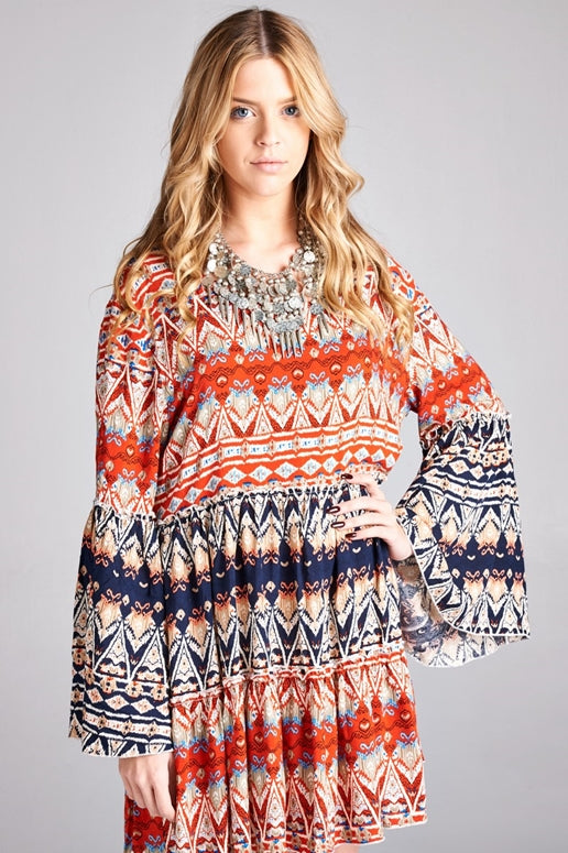 Velzera Boho Tunic Dress - Blue/Red