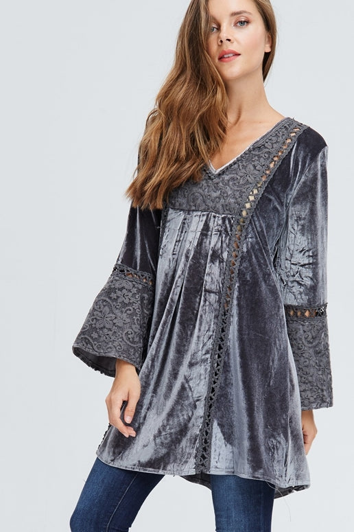 Velzera Boho Embroidered Velvet Tunic Dress - Gray